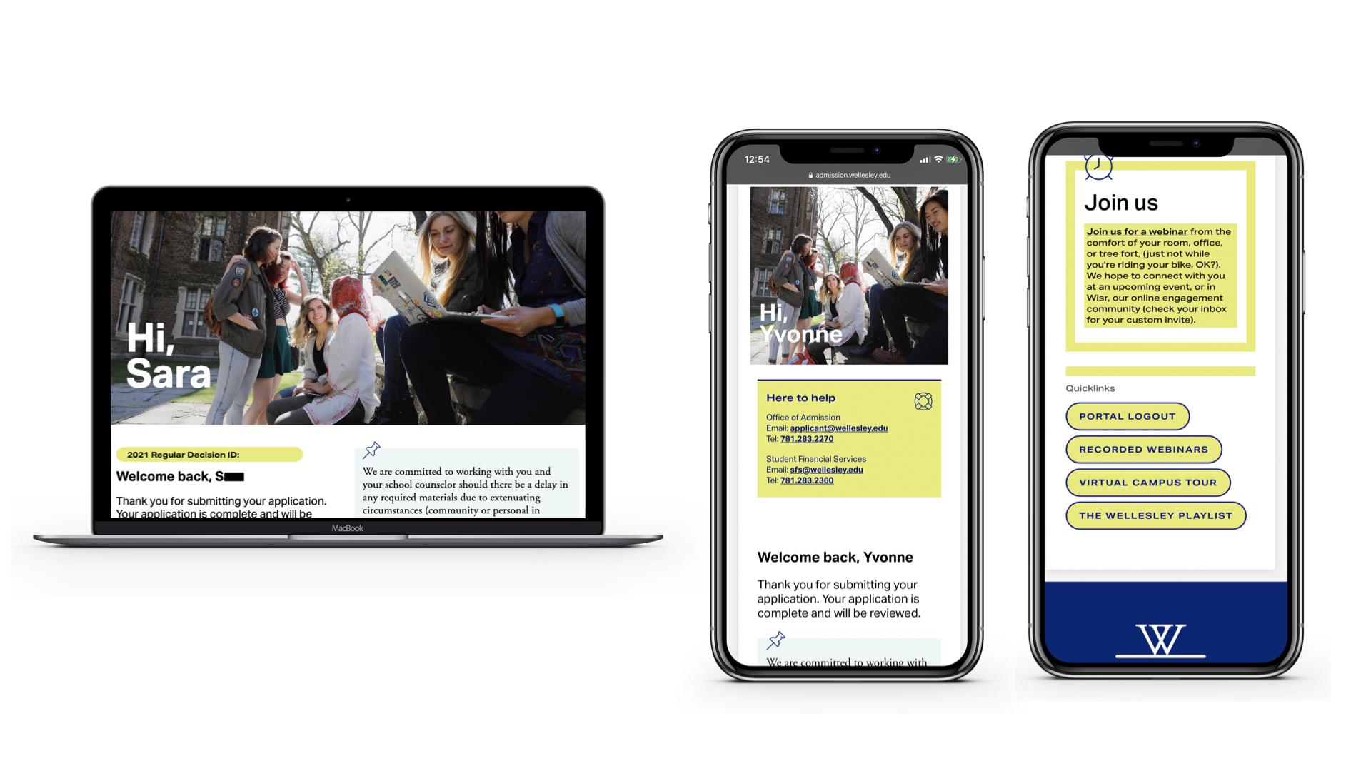 Images of the Wellesley College portal on desktop and iPhone